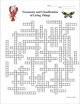 Classification of Living Organisms Crossword Puzzle