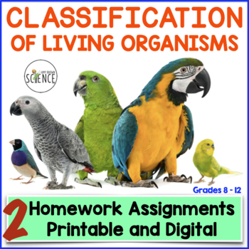 Classification Of Living Organisms Taxonomy Homework And