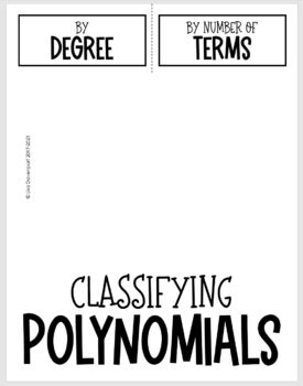 Classify Polynomials by Degree & Terms (Algebra 2 Foldable