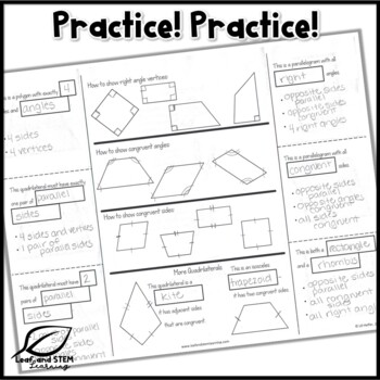 Classifying Quadrilaterals Interactive Notebook Set by