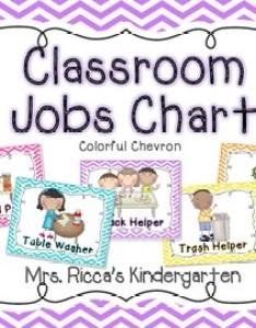 Classroom jobs chart bright chevron also by mrs ricca   kindergarten rh teacherspayteachers