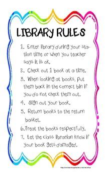 Classroom Library Rules by athruz  Teachers Pay Teachers