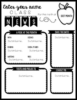 Classroom Newsletter Template: Black and White by The Land
