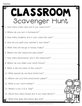 Classroom Scavenger Hunt {EDITABLE} A Fun Back to School