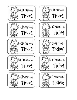 Classroom Ticket (Reward System) by Sincerely Second Grade