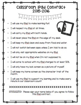 Classroom iPad Rules Poster and Student Contract(Editable