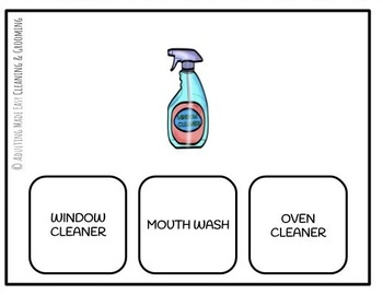Cleaning & Grooming Supplies Functional Reading Task Cards