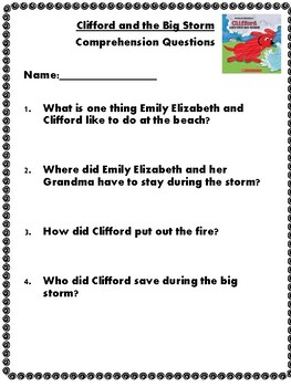 Clifford Reading Comprehension Pack Grades K-1 by Miss