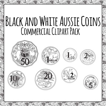 Australian Coins Black and White for Commercial Use by
