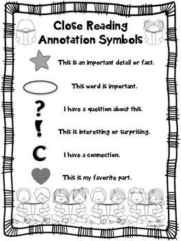 Close Reading Symbols Poster Chart, ANY Topic, Back to