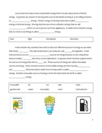Free Middle School Science Cloze Worksheet - Forms of ...