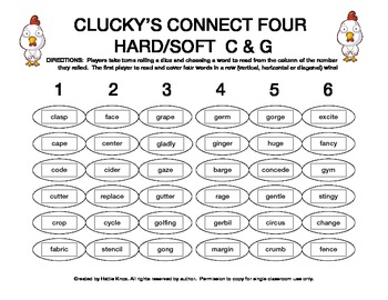 Clucky's Connect 4: Hard/Soft C & G Game- Orton Gillingham