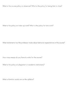 College Syllabus Scavenger Hunt for Senior English by