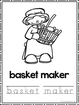 Colonial Jobs Coloring Book worksheets. Preschool-2nd