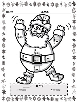 Music Coloring Sheets (Christmas Color By Note) by Emily