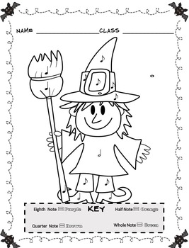Music Coloring Sheets (Color By Note Halloween) by Emily