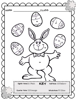 Music Coloring Sheets (Spring & Easter Color By Note) by