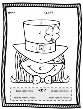 Music Coloring Sheets (St. Patrick's Day Color By Note) by