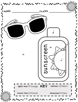 Music Coloring Sheets (Summer Color By Note) by Emily