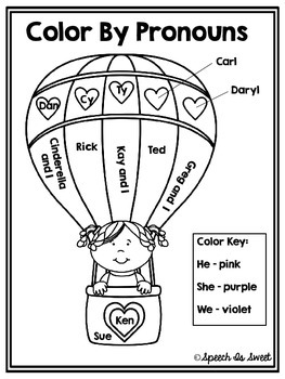 Color By Pronouns: Valentine's Day Edition by Speech Is