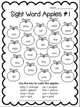 Color By Sight Words Apples FREEBIE by Mrs Thompson's