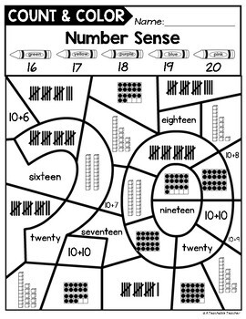 Color By TEEN Number Sense Activities by A Teachable