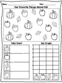 Color & Count!! Fall Tally Chart and Bar Graph Freebie by