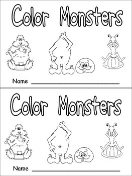 Color Monsters Emergent Reader- Preschool Kindergarten