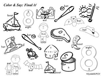 Color & Say: Final Sounds (articulation practice) by