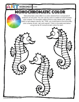 Color Theory Art: Monochromatic Color Worksheet Activity