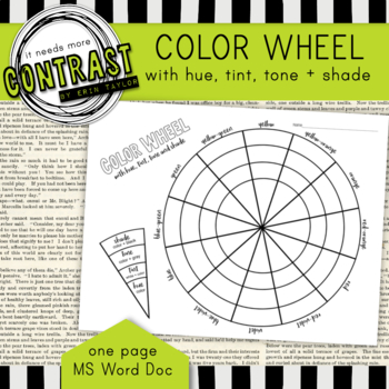Color Theory Color Wheel Worksheet with Hue, Tint, Tone