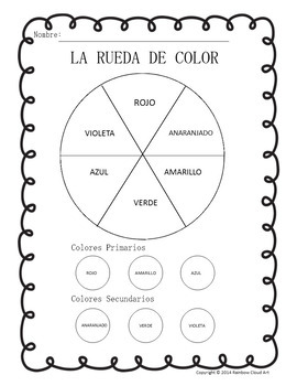Color Wheel & Color Mixing Worksheets in English and