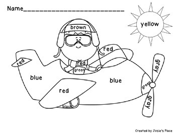 Color Word Recognition & Plane Coloring Sheets by Josie's