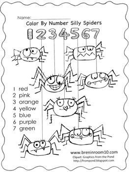 Color Word Spider Freebie CCSS RF.K.3c by bren in room 10