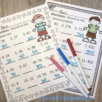 3rd Grade Go Math 1.2 Color By Numbers Round to the