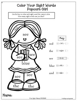 Color Your Sight Word FREEBIE for Preschool and