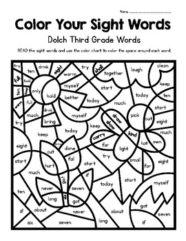 Color Your Sight Words! Contains all 41 Dolch Third Grade