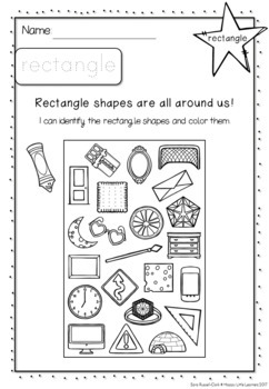 Shapes in Everyday Objects Coloring Worksheets by Happy
