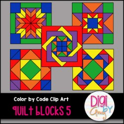 Color by Code Number Quilt Blocks Clip Art Set 5 by Digi by Amy TpT