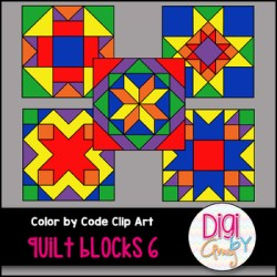 Color by Code Number Quilt Blocks Clip Art Set 6 by Digi by Amy TpT
