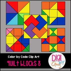 Color by Code Number Quilt Blocks Clip Art Set 8 by Digi by Amy TpT