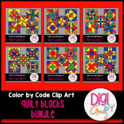 Color by Code Numbers Quilt Block Clip Art Bundle by Digi by Amy
