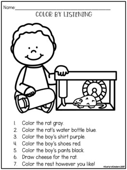 Color by Listening (A Following Directions Activity) by