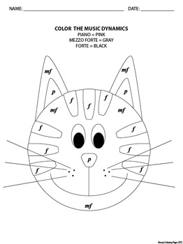 Color by Music Dynamics Cat Coloring Page by Breezy's