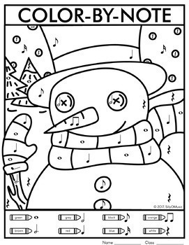 Christmas Color-by-Note Music Coloring Pages by