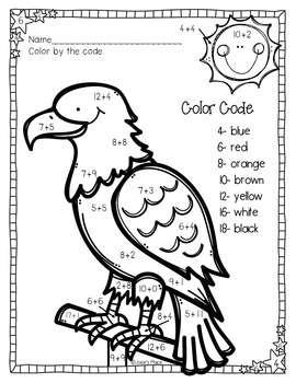 Color by Number Bald Eagle FREEBIES *Two levels to choose