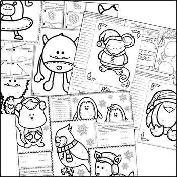 Holiday Math Coloring Activities for Grades 4-5 by Live