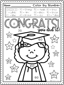 Color by Number Math Fluency, Kinder Graduation by Primary