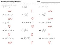 Color by Number : Multiplying and Dividing Monomials by Dr ...