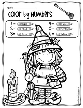 Color by Number + Shape & Coloring Pages, Halloween
